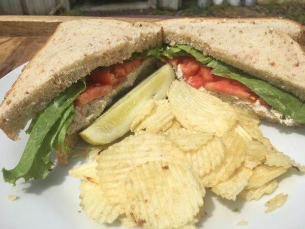 Full Heart-N-Soul Chicken Salad Sandwich with pickle and ruffles