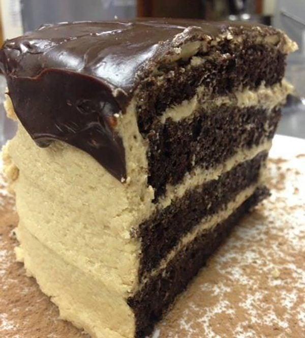 Chocolate Peanut Butter-Cake Slice