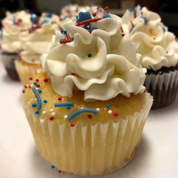 July 4th Vanilla Cupcake