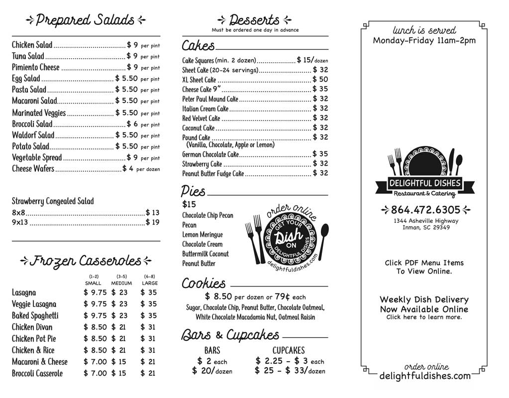 Delightful Dishes Menu 2020 Front
